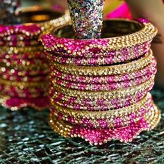Beautiful bangles on the heel of the shoe worn by an Indian bride-to-be!