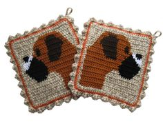 Boxer Dog Pot Holders.  Pet lover crochet potholders by hooknsaw, $23.00