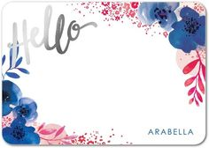 Scripted Hello: Floral - Foil Stamped Personal Stationery - Petite Alma - Begonia - Pink : Front