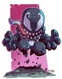 Fan Art Friday: The Delightful Geek Stylings Of Derek Laufman chibi venom by Marvel Venom, Marvel Art, Marvel Dc Comics, Marvel Heroes, Marvel Characters, Character Drawing, Comic Character, Character Design, Comic Books Art