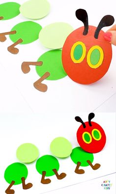 A fun and engaging caterpillar craft for kids to make with the book - The Very Hungry Caterpillar. A sweet kids craft for Spring. Simply download the printable caterpillar template to get started @artycraftykids