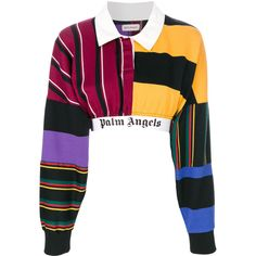 Palm Angels cropped jumper (22,565 PHP) ❤ liked on Polyvore featuring tops, sweaters, white crop top, colorful tops, multicolor sweater, white top and cut-out crop tops
