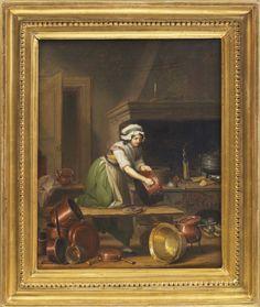 """Maid cleaning copper in a kitchen. Signed 1797.  """"Pehr Hilleström 1733-1816. Piga skurar koppar i ett kök. Signerad och daterad Hilleström 1797. Olja på uppfodrad duk, 52 x 42."""""""
