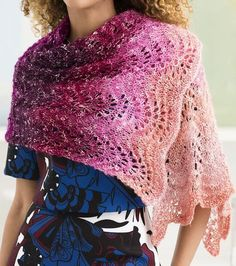 Free Knitting Pattern for Easy One Skein Feather and Fan Shawl - Lace rectanglular wrap that is rated easy by most of the Ravelrers. About 18 x 51 in. (45.5 x 129.5 cm). Perfect formulti-color yarn.Uses 518 yards (474 m) of Aran weight yarn. Designed by Lion Brand yarn.