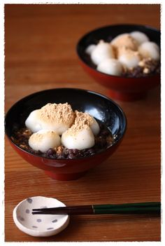 Japanese Zenzai (Sweet Azuki Bean Soup with Shiratama Dumplings and Kinako Soybean Flour) 白玉ぜんざい