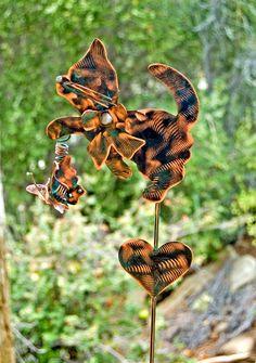 Cat Garden Art Metal Yard Art Stake, Metal Garden Art, Copper, Pet Memorial, Cat Garden Marker, Outdoor Cat Sign, Copper Animal Gift,