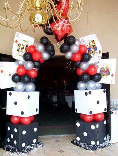Las vegas theme party ideas night entrance decor for a casino themed birthday Tema Las Vegas, Las Vegas Party, Vegas Theme, Casino Night Party, Prom Party, Casino Party Decorations, Casino Theme Parties, Birthday Parties, Casino Themed Centerpieces