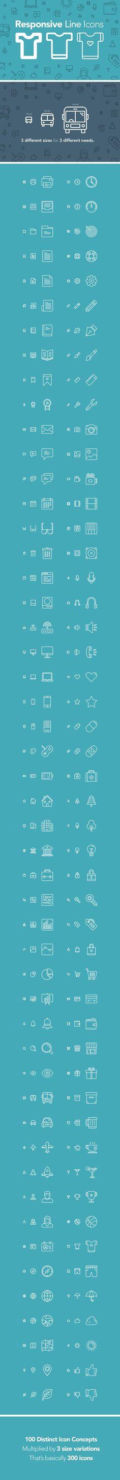 Free 100 Responsive Line Icons   AI, EPS, SVG, PSD (71 MB) By Zlatko Najdenovski on pixelbuddha.net