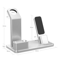 YoFeW Apple Watch Stand Aluminum 4 in 1 Apple Watch Charger Dock Accessories for AirPods Charging Docks Stand for Apple Watch Series AirPods/iPhone Plus/ Plus iPad Silver, Charger Holder, Iphone Holder, Apple Watch Accessories, Ipad Accessories, Wearable Device, Apple Watch Series 2, Docking Station, Ipad Mini, 6s Plus