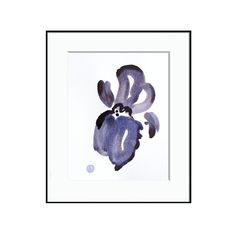 A minimal contemporary botanical iris painting on paper, featuring beautiful washes of soft watercolor coupled with vibrant ink lines.  --…