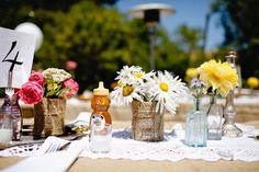 flowers rustic barn wedding www.MadamPaloozaEmporium.com www.facebook.com/MadamPalooza