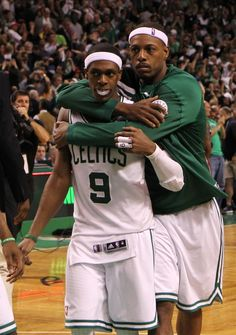 Rajon Rondo #9 And Paul Pierce #34 Of The Boston Celtics Celebrate