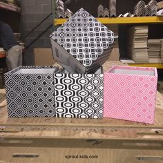 New black&white and pink Storage Bins from Sprout! Add some excitement to your cube storage shelves with these new boxes!