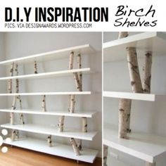 Beautiful DIY Shelving Made Easy - Woman Diy Hacks – Beautiful DIY Shelving Made Easy Birch shelves for stuffed ani Living Room Furniture, Home Furniture, Bookshelves, Bookcase, Unique Shelves, Diy Regal, Types Of Sofas, Interior Decorating, Interior Design