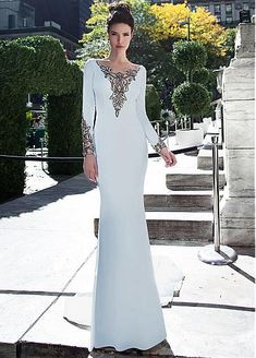 Alluring Chiffon Scoop Neckline Long Sleeves Sheath / Column Evening Dresses With Embroidery & Beadings