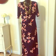 3/4 Sleeve Floral Maxi Dress Cinches at the waist for a flattering look. Only worn once. Additional photos available upon request. Cato Dresses Maxi