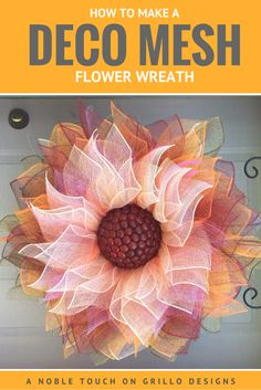 how to make a deco mesh flower wreath / Grillo Designs www.How To Make A Deco Mesh Flower Wreath. This would add a beautiful personalized touch to a funeral service for her - especially if she was a flower lover.Making a Flower Deco Mesh Wreath has n Deco Mesh Crafts, Wreath Crafts, Diy Wreath, Snowman Wreath, Wreath Ideas, Wreath Burlap, Wreath Making, Pumpkin Wreath, Snowman Crafts