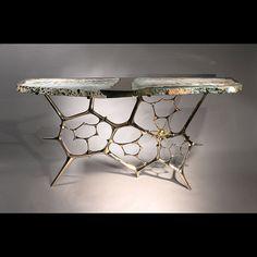 RARE SCULPTURAL CONSOLE TABLE - HANDMADE BRONZE SCULPTURAL TABLE WITH PRECIOS STONE TOP