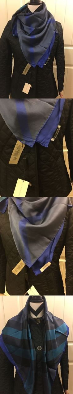 Women Accessories: New Authentic Womens Burberry Large Blue Multicolor Check Silk Scarf BUY IT NOW ONLY: $150.0