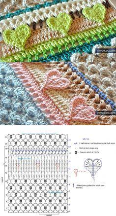 Узор крючком от Mypicot. Motif Mandala Crochet, Picot Crochet, Scrap Yarn Crochet, Crochet Ripple Blanket, Crochet Coat, Crochet Diagram, Crochet Stitches Patterns, Crochet Designs, Crochet Flower Tutorial
