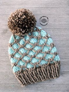 The Regan Beanie is knitted from the bottom up. This quick knit combines slip stitches with 2 colors to create a unique & beautiful beanie. Knitting Patterns, Crochet Patterns, Knitting Ideas, Knit Crochet, Crochet Hats, Super Bulky Yarn, Quick Knits, Circular Knitting Needles, Beanie Pattern