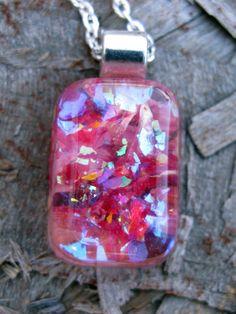 Rose Petals and Glitter Resin Pendant -  encased in resin - 5.00 Bargain Bin. $5.00, via Etsy.
