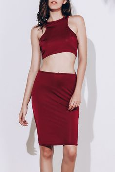 Alluring Sleeveless Round Neck Solid Color Crop Top + High-Waisted Skirt Women's Twinset - WINE RED M