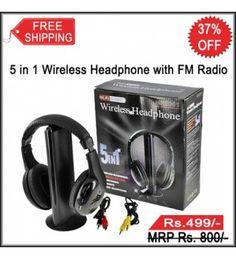 5 in 1 Wireless Cordless Headphones with FM Radio