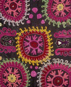 "Antique Kirghiz   silk embroidery ""  Bashtik"" on black cotton fabric background, 23"" x 29 1/2"", beginning of the 20th century"