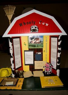 Science Fair - cute display to make it look like a barn, cow paper