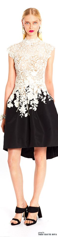 Oscar de la Renta Resort 2015 Collection. Black and white and lace all over. So feminine and beautiful! #fashionista