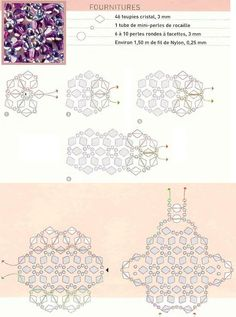 Free Beaded Ring Pattern. Use: 46 bicone crystals 3mm, 1 tube mini seed beads (15/0), 6 - 8 faceted round beads 3mm