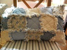 Rag Quilted Pillow sham (cover) in Blue 100% Cotton Country Primitive Home Decoration