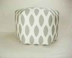 25 Inch Modern Contemporary Floor Ottoman Pouf/Pouffe  Pillow Stool Seating Storm Gray White. $125.00, via Etsy.