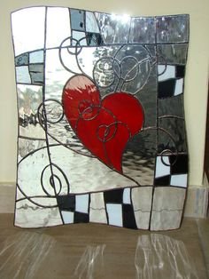 stained glass heart red