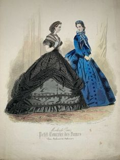 19th Century Fashion, Fashion Plates, Hand Coloring, French Antiques, Cage, Evening Gowns, Hoop, Vintage Outfits, Barbie