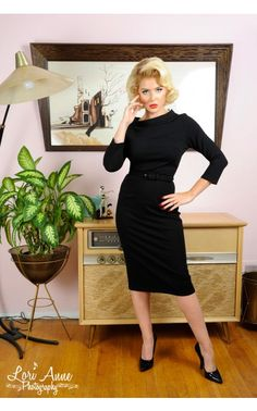 Joanie Dress in Black Ponte de Roma Knit - Dresses - Clothing | Pinup Girl Clothing