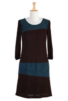 eShakti Women`s The brown teal sweater dress $89.95