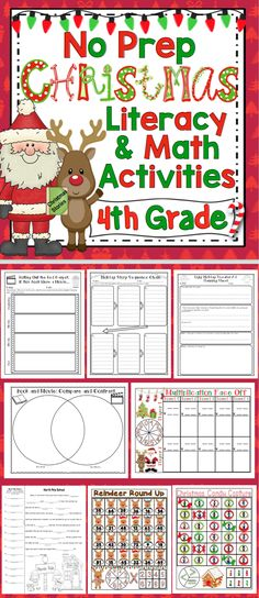 Christmas Activities: 4th Grade Literacy and Math (No Prep) - Keep your students engaged and motivated in the month of December with these no prep reading, writing, and math Christmas activities. You can relax and enjoy the holidays with your students while having standards based fun!! Also available for 3rd grade and 5th grade. $