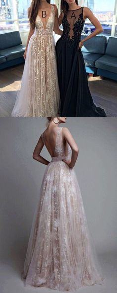 Romantic Deep V Neck Long Prom Dresses for