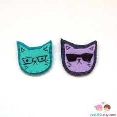 Cat with glasses and cat with sunglasses, pins cat brooches, felt pins, felted accesories