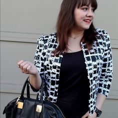 Black & White Checked Sequin Jacket Cropped length open jacket in a black and white grid-like design full of sequins. Fully lined. Sequins in good condition. Please carefully review each photo before purchase as they are the best descriptors of the item. My price is firm. No trades. First come, first served. Thank you! :) Ark & Co Jackets & Coats