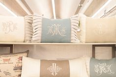 love the monogram font and colors of these pillows- so addicted to monograms Monogram Pillows, Monogram Fonts, Free Monogram, Monogram Letters, Embroidery Monogram, Embroidery Designs, Embroidery Fonts, Antique Market, Linens And Lace