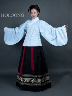Hanfu Model wearing Coat Lined short gown Women Jacket skirt Clothing