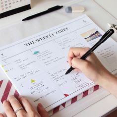 Keep your week to view in style with the minimally chic 'Weekly Times' Desk Planner.50 sheets in total A4 size (29.7 x 21cm) 30 weekly planner sheets and 20 free note sheets undatedThis pretty desk pad is perfect for keeping on top of all your daily tasks. With 50 sheets included, you can just tear off the week on this pad when it's passed. The 'Weekly Times' Desk Planner is great for planning out your week ahead and a brilliant reference to keep on your desk at home or in the office. With ...