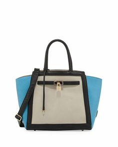 Corrine+Colorblock+Lock+Satchel+Bag,+Blue/Gray/Black+by+Christian+Lacroix+at+Neiman+Marcus+Last+Call.
