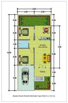 Little House Plans, My House Plans, Small House Plans, House Floor Plans, Home Map Design, Small House Design, Home Design Plans, Minimalis House Design, South Facing House