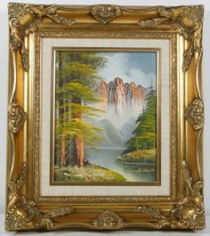 Vintage Landscape Naturalist River Trees Mountains Oil Painting Signed S. Dain