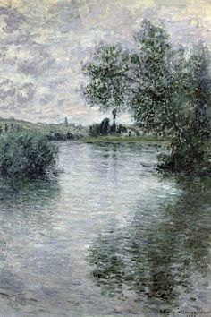 The Seine at Vétheuil by Claude Monet in oil on canvas, done in Now in The Musée Marmottan. Find a fine art print of this Claude Monet painting. Monet Paintings, Impressionist Paintings, Landscape Paintings, Impressionist Landscape, Abstract Paintings, Contemporary Paintings, Painting Art, Claude Monet, Artist Monet
