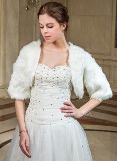 Wraps - $26.99 - Half-Sleeve Faux Fur Wedding Wrap (013040700) http://jjshouse.com/Half-Sleeve-Faux-Fur-Wedding-Wrap-013040700-g40700
